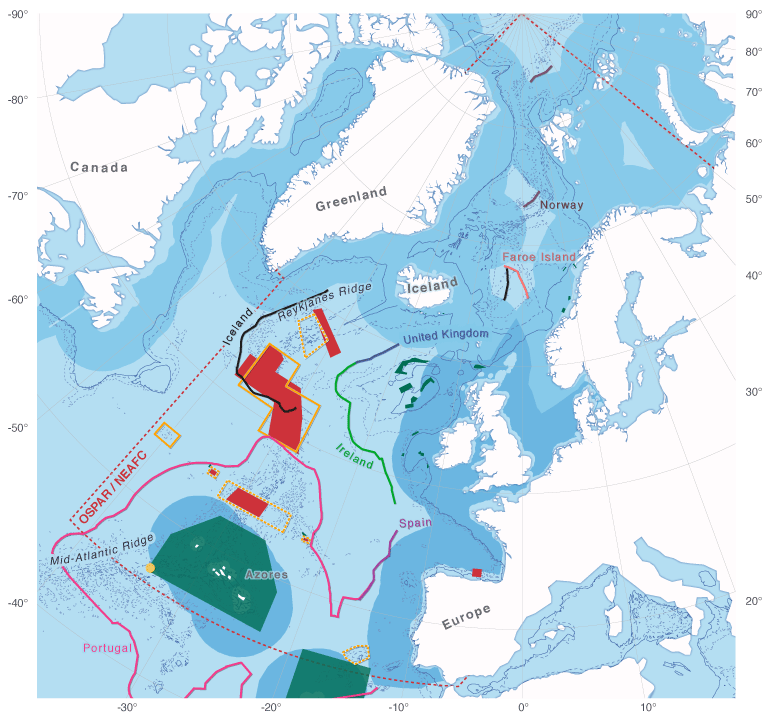 Figure 1. The North-East Atlantic in 2009: Large areas are closed to bottom fishing activities by NEAFC (red) and EU/national regulation (green), OSPAR MPAs (proposed: yellow stippled, agreed in principle: yellow line), and extent of potential coastal States´ national jurisdiction on the seafloor as submitted to UN Commission on the Limits of the Continental Shelf