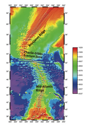 Figure 1. Three-dimensional bathymetric map of the Mid-Atlantic Ridge with the Charlie-Gibbs Fracture Zone in the middle. The ridge itself is the red-orange-yellow area between 1000 and 2500 m depth. Source: Mar-Eco